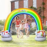 iBaseToy Rainbow Sprinkler for Kids - 7.3 x 6.1 Ft Inflatable Water Sprinklers Toys for Summer Outdoor Backyard Yard Lawn - Fun Kids Sprinkler Water Toys Games for Toddlers Boys Girls Adults