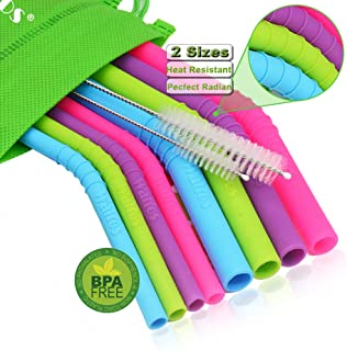 WALFOS Reusable Straws - Extra Long Silicone Straw for 30 oz and 20 oz Tumblers Yeti/Rtic/Ozark - 2 Size Can Fit All (4 Regular +4 Wide) with 2 Cleaning Brushes - BPA Free & ECO-Friendly