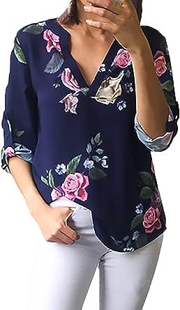Camisas Mujer Verano Vintage Impresión Floral Tops Fiesta ...