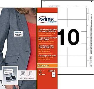 AVERY - Boite de 20 badges type Vista gris anthracite avec combi rotatif, Format 47 x 75 mm