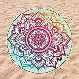 BE CRAZY THE BRAND Toalla de Playa Microfibra Mandala Rosa - Diseño Innovador, Fresco, Tentador y Divertido de un Llamativo Mandala   149 cm de diámetro.