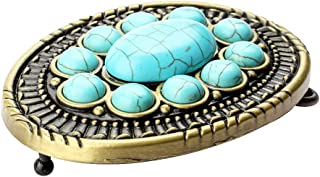 Lovoski Western Belt Buckle Turquoise Stone Belt Buckles For Leather Belts