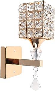 HJZ Modern Style pendentif en Cristal mur Lampe Chambre Aisle Living Wall Chambre Lumière Holder E14 Socket, Ampoule non incluse (Or)