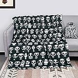 Halloween Skeleton Throws Blanket Fleece with Gift Bag, Black Halloween Skull Blankets King for Adults, Halloween Throw Blanket Soft for Couch Beds Sofa, 50 x 60 Inch