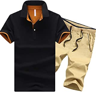 Men's 2 Piece Casual Tracksuit Shirts and Shorts Jogging Athletic Sports Suit Set