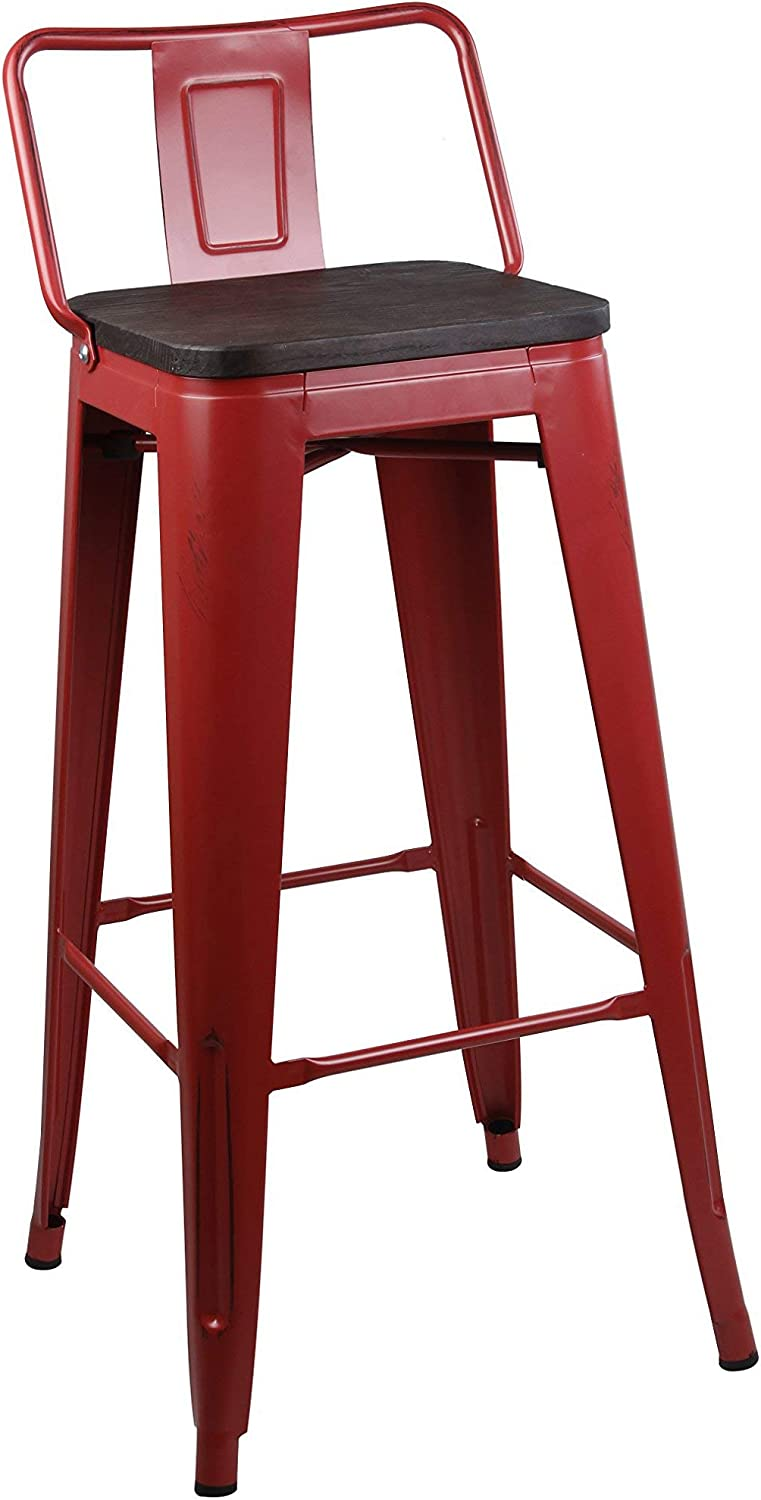 GIA Low Back Metal Barstool with Wooden Seat 30  Bar Height(1 Pack) - Antique Red - Light Weight Easy Assemble and Stackable