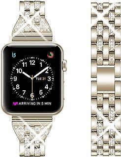 Oitom アップルウォッチ バンド ベルト 44mm ステンレス apple watch 5 / 4 / 3 / 2/ 1 バンド 交換ベルト42mm 40mm 38mm ビジネス風 レディース 高級感 appleウォッチベルト 調整工具付 シャンパンゴールド 42mm