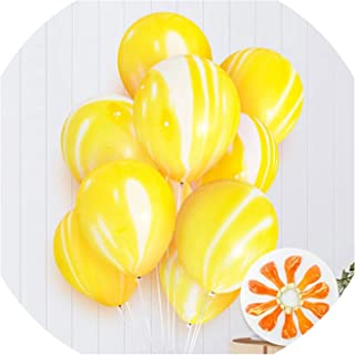 Party Balloons,5 10 pcs 10 inch Painting Agate Balloons Colorful Cloud Air Balloon Birthday Party Balloon Decoration Balcony Globos #Bal6,10Yellow