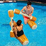 FUDOSAN Inflatable Pool Fighting Float 4 Pcs Battle Log Rafts Row Toys for 2 Players Adults Children Summer Pool Party Water Sports Games Toys Swimming Pool Water Toys
