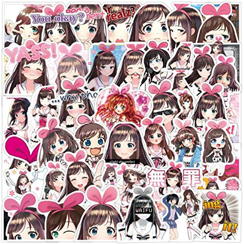 ZFHH 50pcs Pack Kawaii Anime A.I.Channel Kizuna Stickers Luggage Laptop Skateboard Bicycle Backpack Cute VSCO Girl Sticker Toy