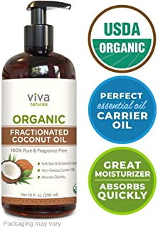 Viva Naturals Organic Fractionated Coconut Oil - 100% Pure USDA Certified, Perfect for Skin Moisturizing and Shaving, Hair Nourishment, Carrier and Massage Oils, DIYs and More(10 oz)