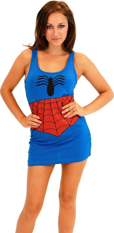 Spider-Man Girl blau Kinder Kostüm Tunic Tank Kleid (blau) (Kinder Large)