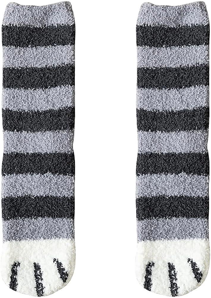 6 Pairs Womens Girls Fuzzy Cute Cat Paw Warm Slipper Socks Winter Soft Cozy Plush Socks Christmas Gift