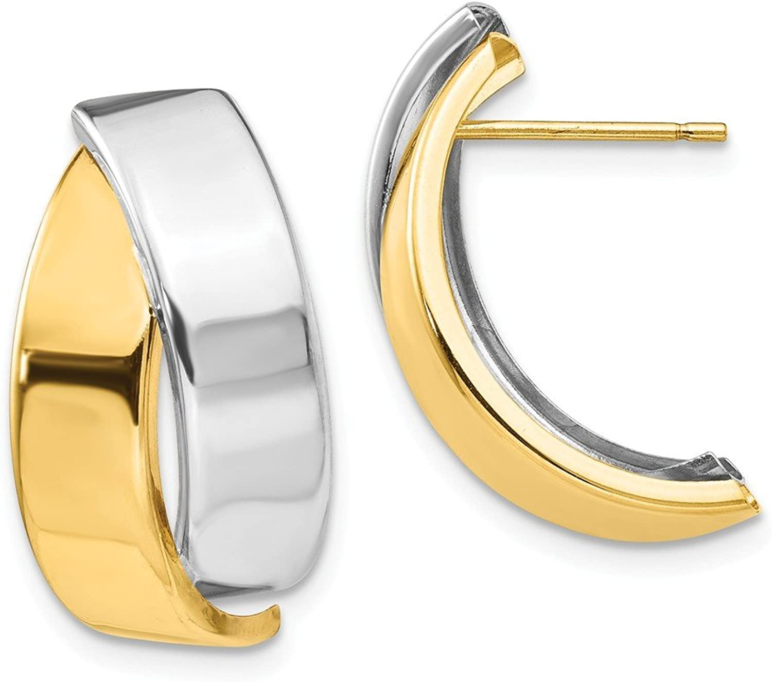 Beautiful White and yellow gold 14K Whiteandyellowgold 14k Twotone Polished Post Earrings