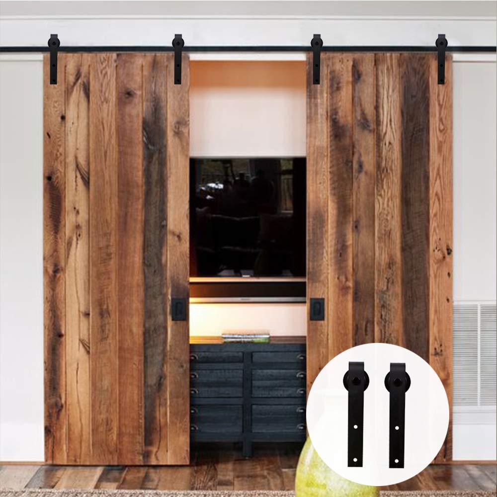 LWZH 14.5FT/442cm Herraje para Puerta Corredera Kit para Puertas Dobles,Negro J-Forma: Amazon.es: Bricolaje y herramientas