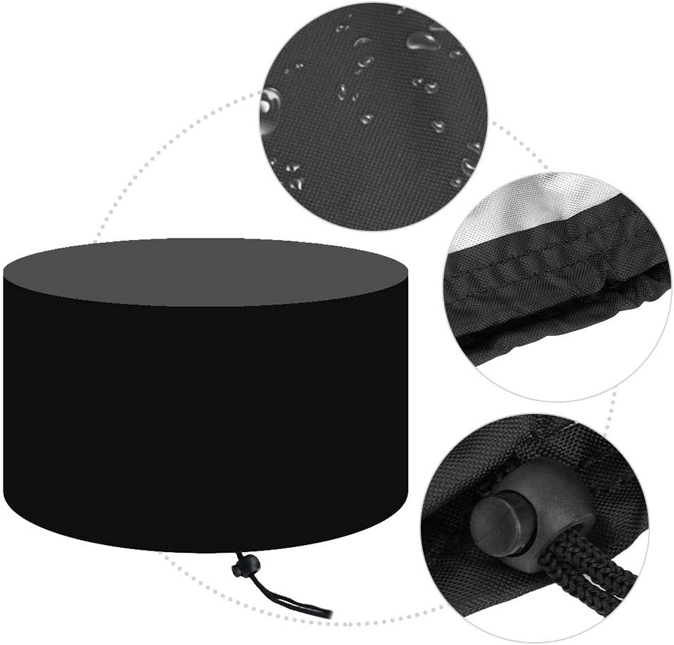 Yinuoday Fire Pit Cover Round Waterproof Stove Cover with Storage Bag Weather Resistant Anti-UV Heavy Duty Firepit Cover with Drawstring for Outdoor Indoor Furniture Multi-Size