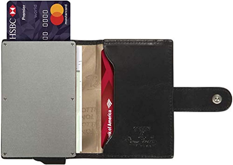 RFID Blocking MINIMALIST CARD SLIDER Multi Pocket Wallet Case Italian Leather