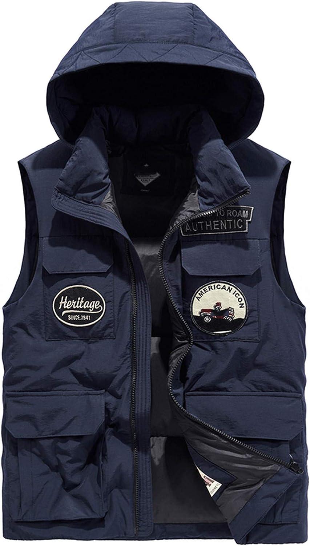 Snhpk Men's Down Vest Outerwear Gilets Coat Softshell Jacket, Winter Hooded Thicken Warm Windproof Overcoat Waistcoat,Blue,XXXL