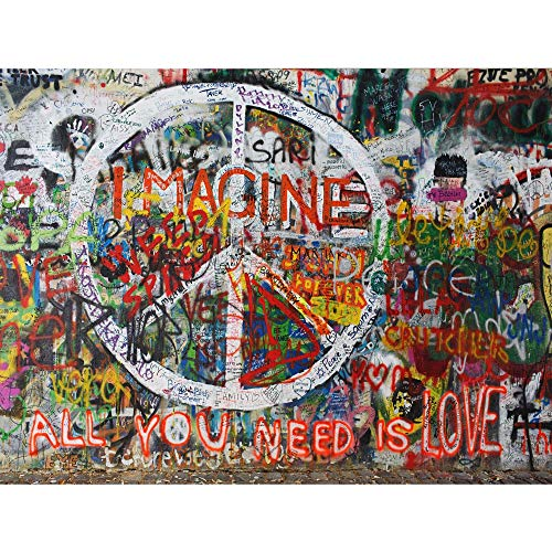 Imagine Peace Graffiti Poster Wall Art Decor Print | 12x16 | John Lennon People for Peace Posters & Pictures | All You Need Is Love No War | Retro Hippie Weed Pride Gift for Guys & Girls Bedroom Walls