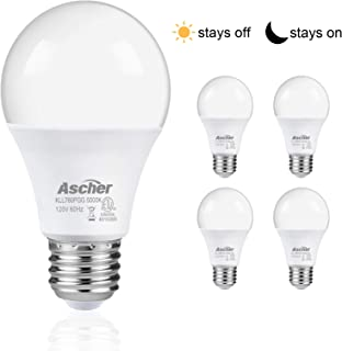 Ascher Dusk to Dawn A19 LED Bulb Sensor Light Bulbs Automatic On/Off, 60 Watt Equivalent, Daylight White 5000K, Smart LED Indoor/Outdoor Security Lighting Bulbs, E26 Base, Pack of 4