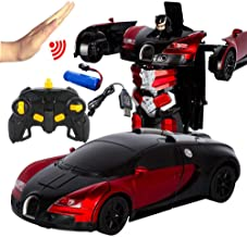 PAWACA Remote Control Car, Gesture Sensing Car Toy with One-Button Deformation and Music Sound LED Lights, Wonderful Gift for Kids Boys Teenagers