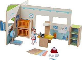 HABA Little Friends Veterinary Clinic Play Set - 4 Detailed Rooms with 1 Vet Figure, Kitten, Kennels and Accessories