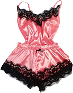 TIANTI Women Sleepwear Sexy Lace Nightwear Lingerie Satin Pajama Cami Nightgown Short Pajama Nightdress Underwear
