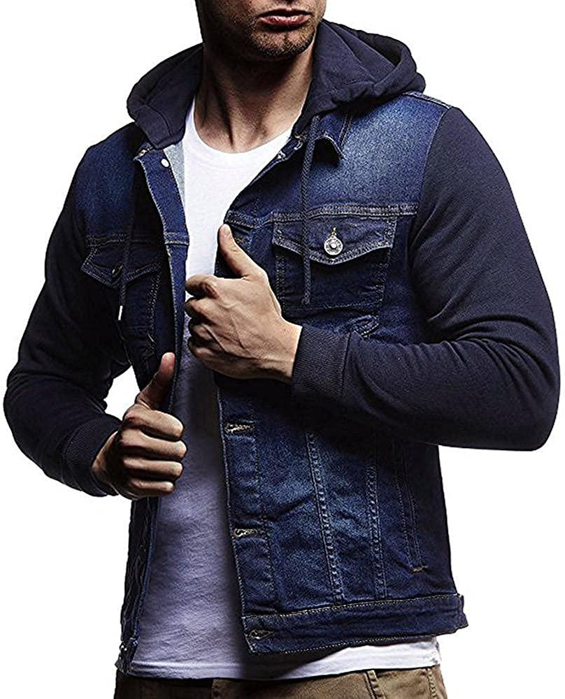 FUNEY Sweat Jackets for Men Slim-Fit Long Sleeve Hooded Button Down Vintage Distressed Demin Jacket Jeans Coat with Pocket