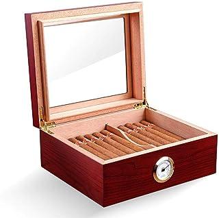 PIPITA 25-50 cigarr skrivbord humor spansk cederlåda med luftfuktare och hygrometer royale glasstop Röd