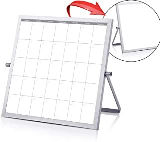 Small Double Sided White Board Calendar - Mini Portable Desktop Dry Erase Board with Stand & Small Monthly Calendar Whiteboard Planner with Reversible to Do List - 10