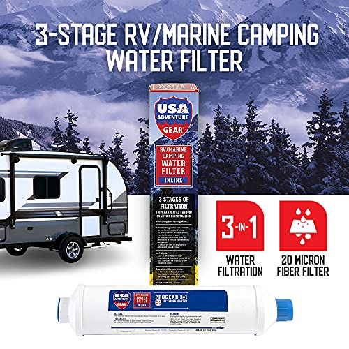 3-Stage RV/MARINE XXL Inline Water Filter | KDF/GAC/Quantum BioFiltration | Last 4X Longer | Filters Bacteria, Viruses On Contact | Filters Chemicals, Insecticides, Chlorine, Lead | Made In The USA |
