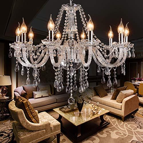 LIUMANG Modern Elegant 10 Lights K9 Crystal Glass Chandelier Pendant Ceiling Lighting European Style for Dining Living Room Bedroom Transparent, 10 E12 Bulbs Required
