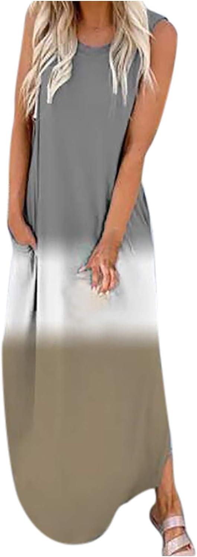 QTOCIO Womens Gradient Color Block Maxi Dress, Patchwork Fall Loose Slit Long Dress Tank Dress Beach Swimsuit Cover Ups