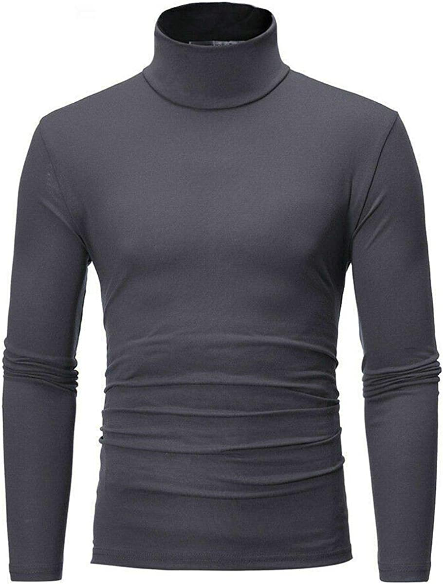 Gray - M-2XL Casual Stretch Jumpers Pull Over Sweaters High Neck Turtleneck Cotton