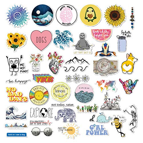 nuoshen 56Pcs Waterproof Cartoon Stickers,Decorative stickers Aesthetics Stickers for Cup Laptop Motorcycle Bicycle Luggage