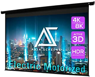 Akia Screens 104 inch Motorized Electric Remote Controlled Drop Down Projector Screen 4:3 8K 4K HD 3D Retractable Ceiling ...