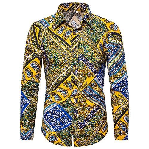 Ocuhiger Camisas Casuales De Moda para Hombre Camisa De Manga Larga con Cuello Vuelto Camisa Ajustada con Botones Blusa Estampado Digital A Rayas para Hombres Amarillo Azul