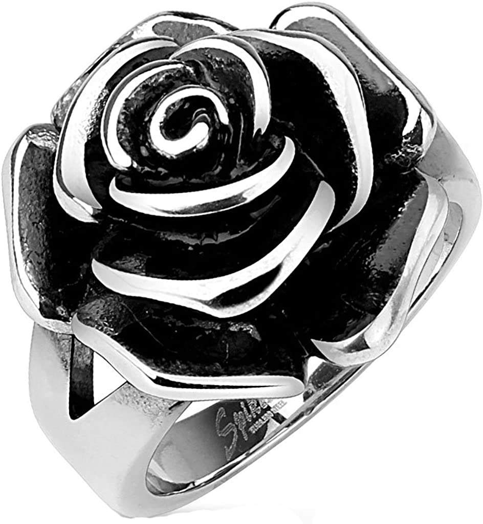 Blue Palm Jewelry Full Bloom Single Rose Cast Band Ring Stainless Steel Band Ring R650