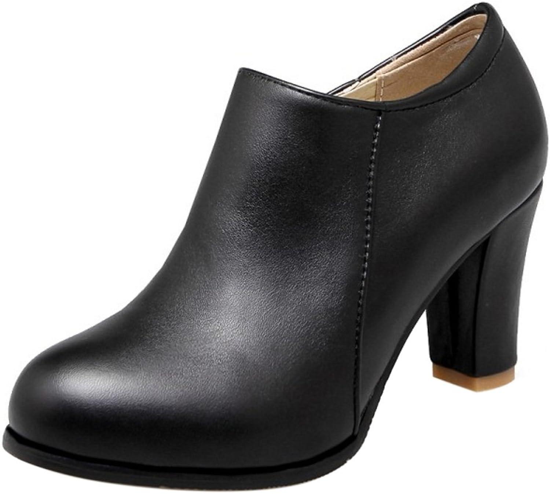 CarziCuzin Women Solid Block Heel Short Boots Round Toe Black Size 41 Asian
