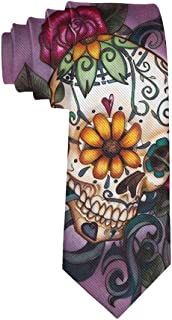 Men's Skinny Tie Sugar Skull Flowers Polyester Necktie, Gift for Groom, Groomsmen, Dad