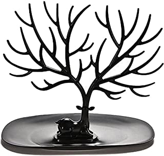 NUOLUX Birds Tree Jewelry Stand Earring Necklace Bracelet Necklace Holder Display Organizer Rack Tower (Black)