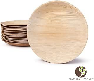 """Naturally Chic Compostable Biodegradable Disposable Plates - Palm Leaf 9"""" Round Small Dinnerware Set - Eco Friendly Alternative - Party, Wedding, Event Plates (25 Pack)"""
