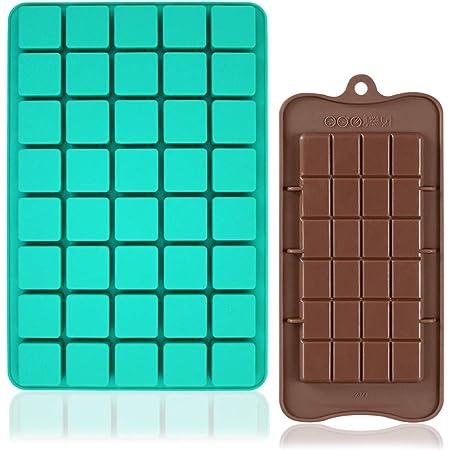 FineGood - Moldes de silicona para chocolate, 40 cavidades cuadradas, bandeja para hornear con Brownie Chocolate para postres, gomitas, bombas de ...