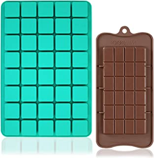 2 Pcs Chocolate Molds Candy Silicone Moulds, FineGood 40 Cavities Square Baking Tray with Brownie Chocolate Making Molds f...