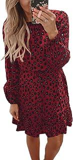 Imysty Womens Leopard Print Long Sleeve Casual Ruffles Hem Party Short Mini Tunic Dress