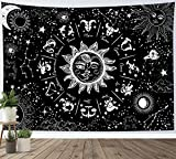 HVEST Sun Moon Zodiac Tapestry Wall Hanging Black and White 12 Constellation Art Tapestries Psychedelic Star Space Astrology Tapestry Room Indie Decor Blanket for Living Room Bedroom Dorm,60x40 Inchs