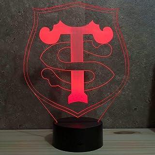 Lampe illusion rugby Toulouse 16 couleurs RGB personnalisable - Fabriquée en France - Lampe de table - Lampe veilleuse - L...