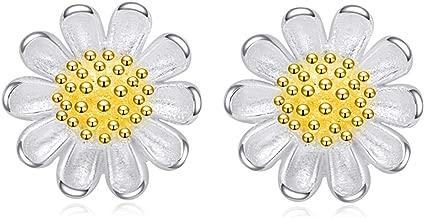 Bouet Viau 925 Sterling Silver Daisy Stud Earrings for Women Christmas Gifts