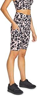 Rockwear Activewear Women's Snow Leopard Cross Pocket Bike Shor from Size 4-18 for Bottoms Leggings + Yoga Pants+ Yoga Tights