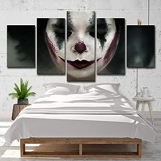 upnanren 63CM Framed 5 Board Modern Home Decor Painting Canvas sad Clown Painting Room on Canvas